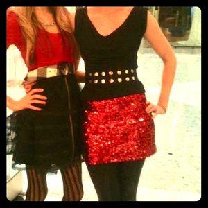 Betsey Johnson ruby red sequin mini skirt